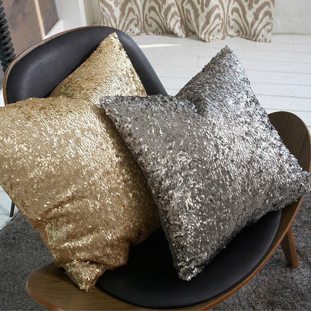 zt1057 morden gold silver sequin shining bling color decorative sofa throw pillow cases cushion cover bed - Gold Decorative Pillows