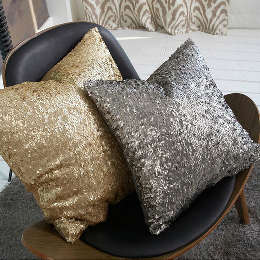 zt1057 morden gold silver sequin shining bling color decorative sofa throw pillow cases cushion cover bed throws