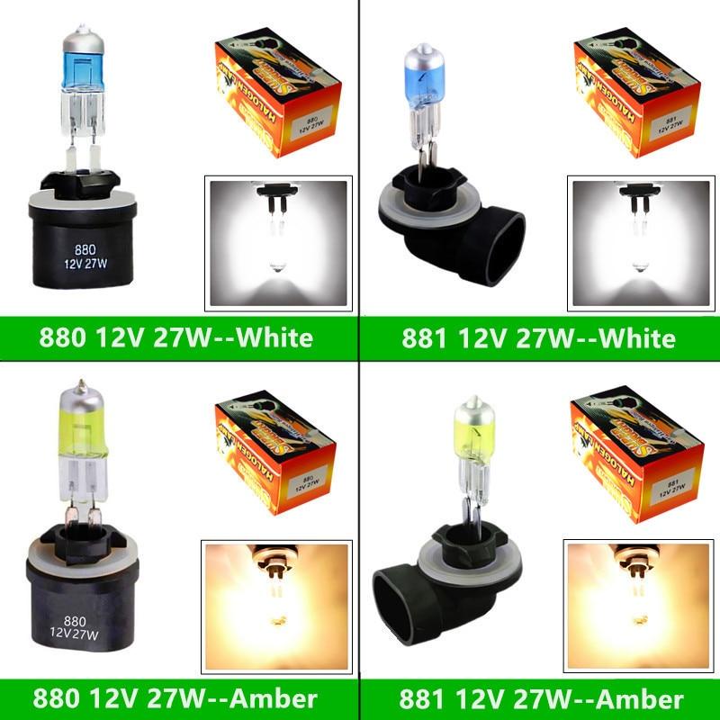 2pcs 881 894 H27 Halogen Bulb 27W - 880 889 H27W Headlight Fog Lamp Running Parking 12V White Yellow Amber