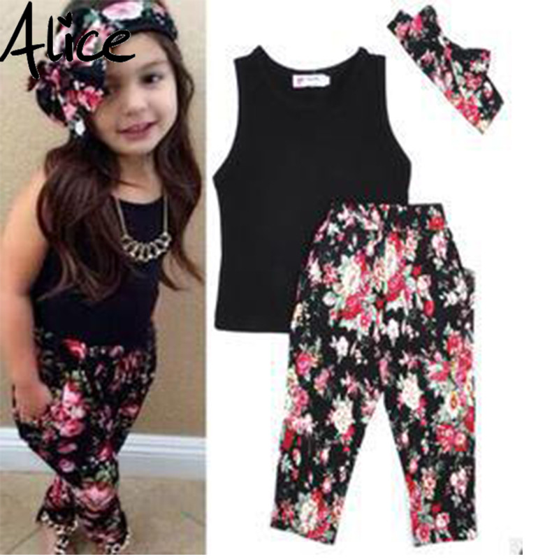 Girls Fashion floral casual suit children clothing set sleeveless outfit +headband 2021 summer new kids clothes set 2