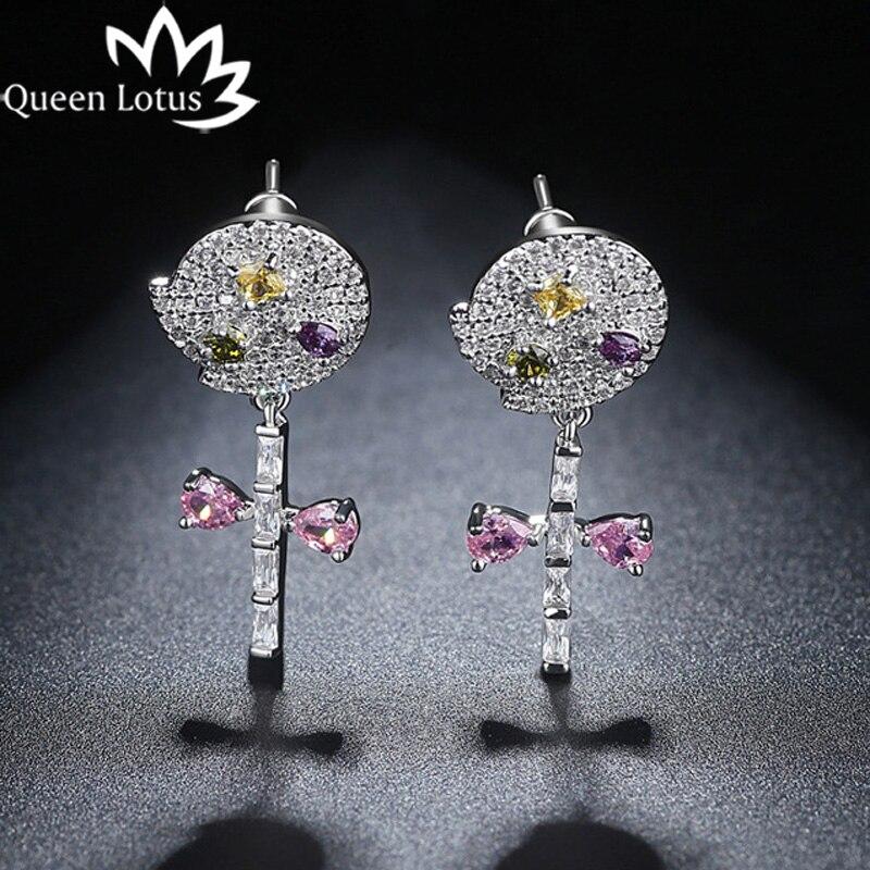 Queen Lotus 2018 Trendy Colorful Cubic Zircon Dangle Earrings for Women Luxury Crystal Flower Earrings Jewelry Female jewelery