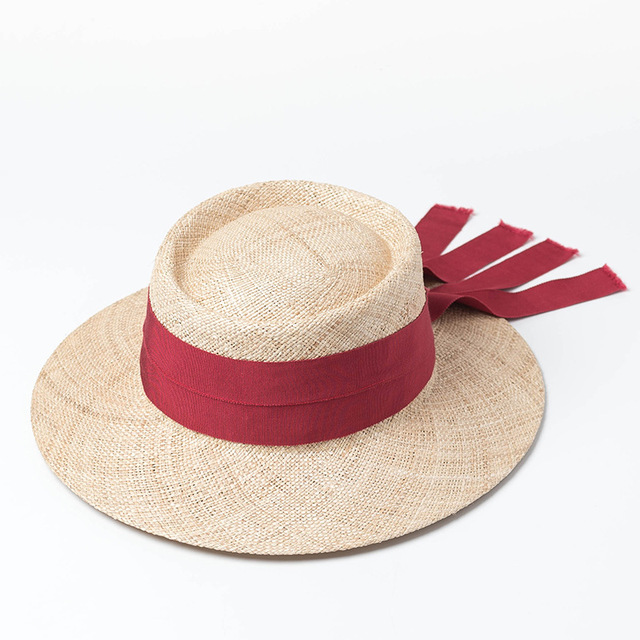 Women Sun Hat 2018 New Fashion Summer Holiday Beach Hats Ladies Tope Boater  Hat with Red 3d6047fbd200