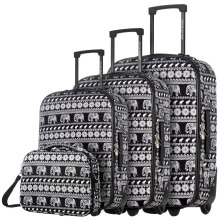 DAVIDJONES  4 Piece Luggage Set 20″ 24″ 28″, vintage print WomenTravel Bags Trolley rolling suitcase 13 inch makeup bag