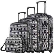 DAVIDJONES  4 Piece Luggage Set 20″ 24″ 28″, vintage print WomenTravel Bags Trolley rolling suitcase 13 inch makeup bag