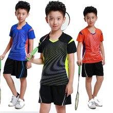 Одежда для мальчиков и девочек из Джерси для бадминтона, набор для пинг-понга из полиэстера, Быстросохнущий дышащий Теннисный тренировочный костюм, рубашка для настольного тенниса+ шорты