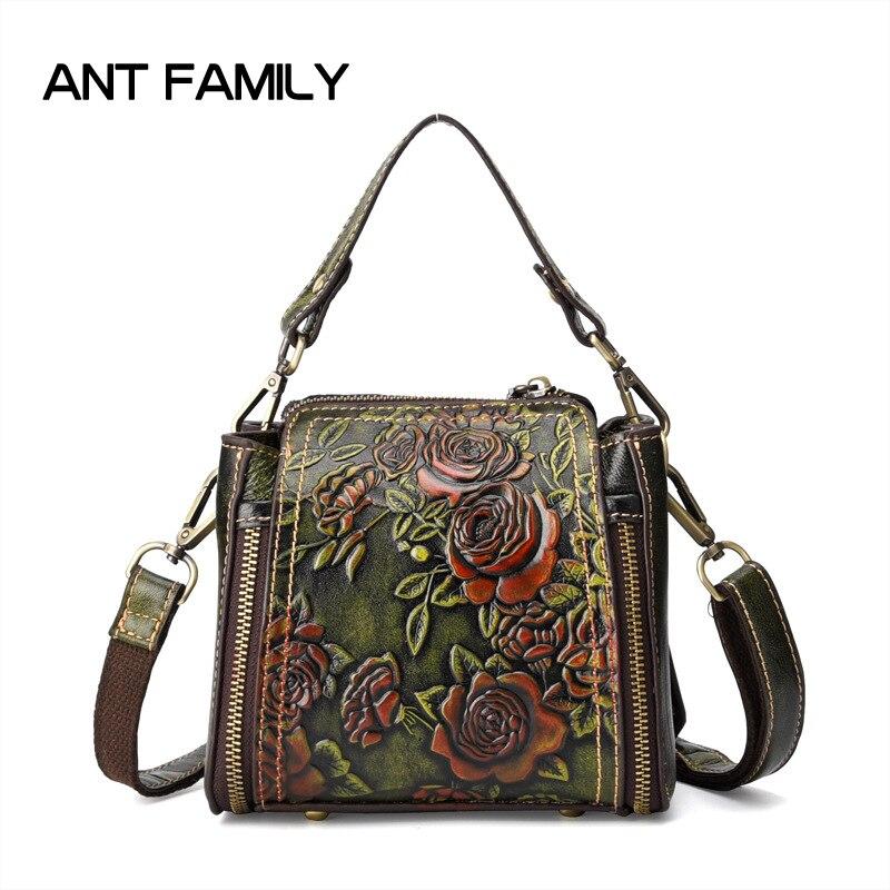 3D Embossed Women Genuine Leather Handbag 2018 Fashion Rose Ladies Bag Mini Handbags Women Famous Brands