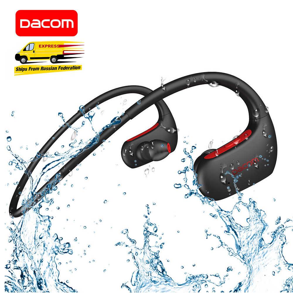 DACOM L05 سماعة رأس مزودة بتقنية البلوتوث باس IPX7 مقاوم للماء سماعة لاسلكية رياضية سماعة رأس بخاصية البلوتوث مع ميكروفون آيفون سامسونج شاومي