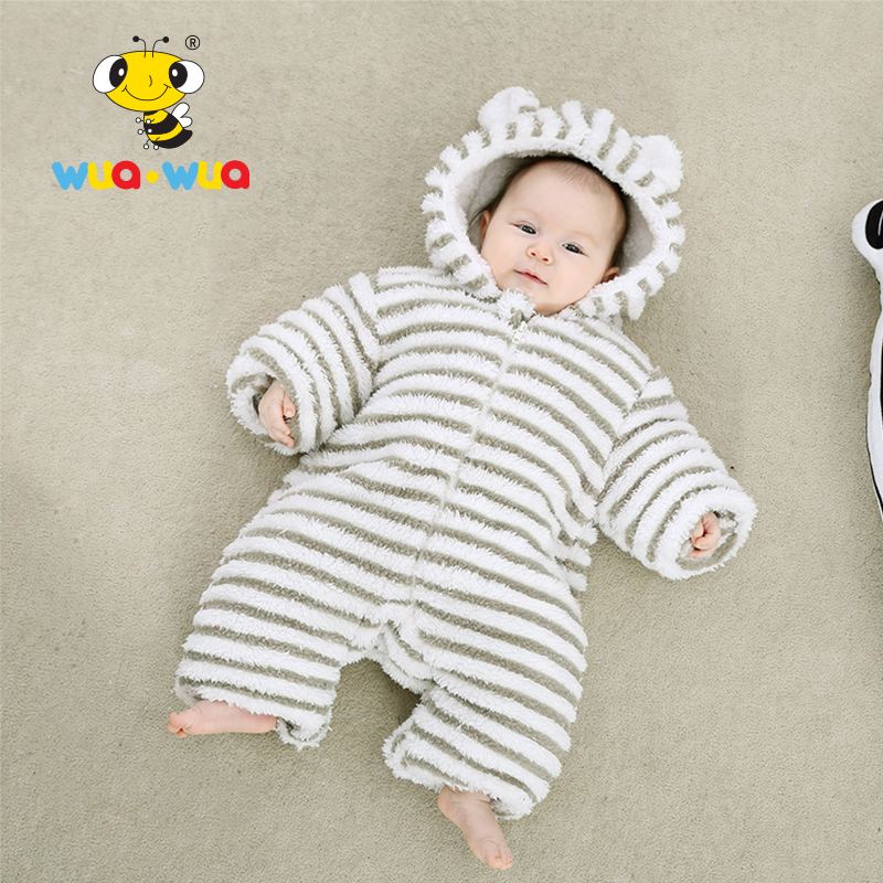 Baby boy girl Winter Romper Clothes baby clothing Hooded Cotton Newborn Clothes jumpsuit full Sleeve coral velvet Wuawua WT17160 newborn infant baby boy girl clothing cute hooded clothes romper long sleeve striped jumpsuit baby boys outfit