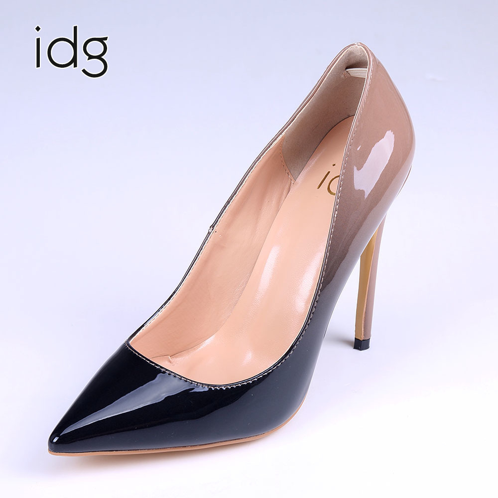Idg Brand Women's Singles Shoe OL Gradual Change Color Patent Leather High-heeled Pure Foreign Trade Original tenis feminino phil collins singles 4 lp