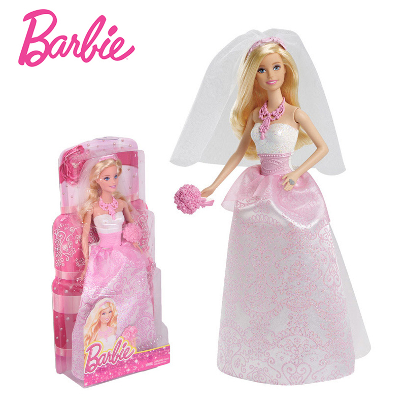 Original Barbie Doll Toys Pink Bride Barbie Clothes Wedding Necklace Barbie Accessories Educational Toy Birthday Gift For Girls 2 items 1dress 1 set accessories 1pair earing 1necklace little girls s gift luxurious wedding dress for barbie doll