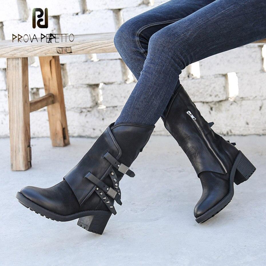 Prova Perfetto black sheepskin thick bottom motorcycle boots females rivet decor belt buckle chunky high heel