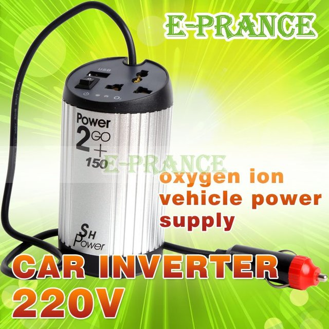 Cheap Original 2 in 1 Car Auto 12V to 220V Converter Inverter Oxygen Bar Charger Power Adapter Free Shipping