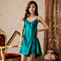 Women V-Neck Faux Silk 3Color Sexy Two-Piece Charming Lingerie Pajamas Night Dress Sleepwear