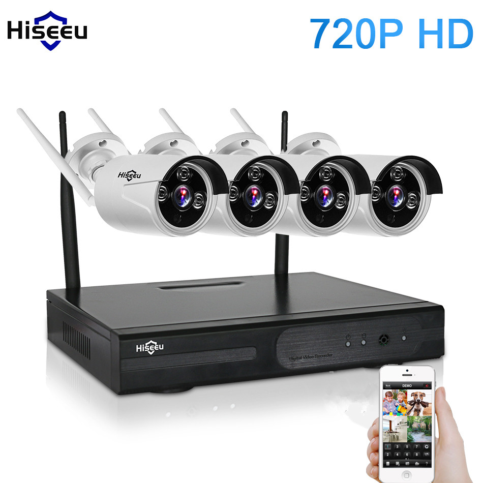 Hisseu 720P Wireless CCTV System 4CH Wifi NVR Powerful Wireless NVR IP Bullet CCTV Camera Home Security Surveillance Kit 42