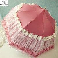 Free Shipping Hot Selling Woman Non Automatic Three Folding Lace Umbrellas Princess Lace Parasol