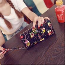 New Arrival Cute Owl Stereoscopic Printing Rounded Zipper Long Women Wallet Ladies Clutches Short Change Purses Card Holders