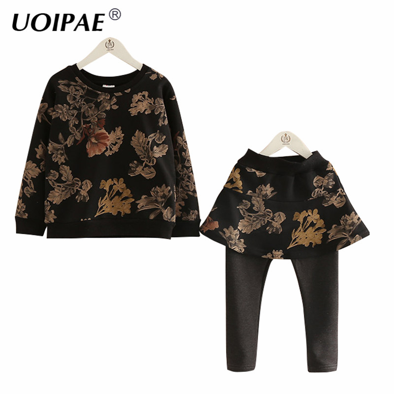 UOIPAE Set Clothing Girls 2018 Autumn Floral Print Children Sets Long Sleeve T Shirt+Pants With Skirt Simple Kids Clothes B0772 summer girls boys clothes kids set velvet hello kitty cartoon t shirt hoodies pant twinset long sleeve velour children clothing
