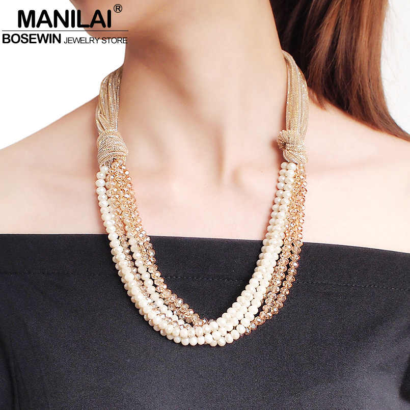 MANILAI Silk Rope Chunky Necklace Multilayer Crystal Pendant Necklace for Women Handmade Statement Necklace Party Jewelry