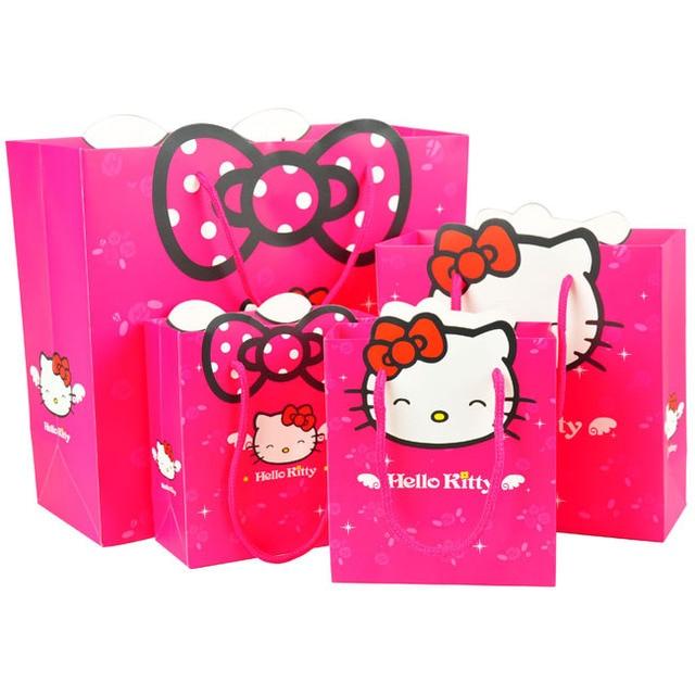 ca645883cd34 3 size Gift bag Hello Kitty cartoon packing Environmental safety paper bag  package for girls kid handbag present