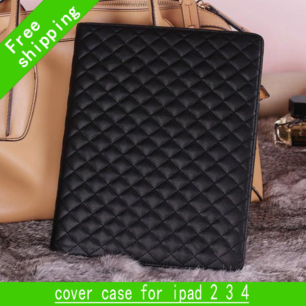 Hot selling deluxe flip pouch luxury leather double c wallet cover case for ipad 2 3 4 and for iPad mini
