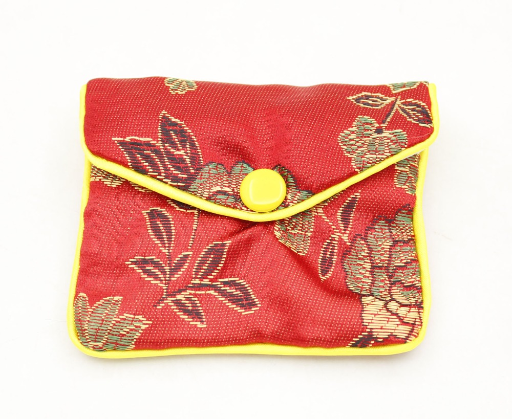 Купить с кэшбэком 10 Pcs Gift Jewelry Bags Pouch 70mmX80mm Red Man-made Silk   SNAP BUTTON