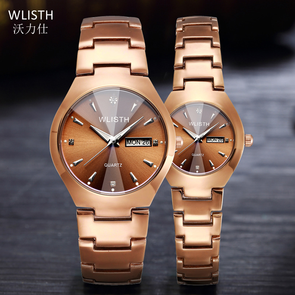 Couple Watches for Lovers WLISTH Brand Quality Waterproof Quartz Watch Men Women Watches Fashion Luxury Coffee Gold Pair Hours