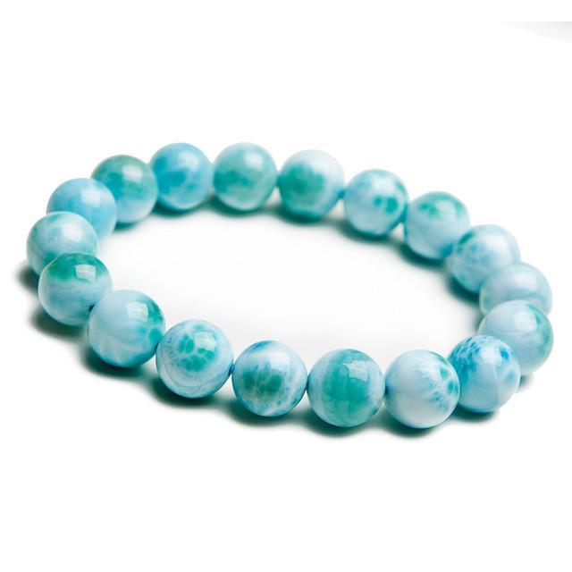 Genuine Azul Precioso Larimar Pedra Natural Pulseiras Para Mulheres Homens Jóias 11mm Rodada Bead Charme Estiramento Pulseira Frete Grátis