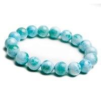 Genuine Precious Blue Larimar Natural Stone Bracelets For Women Men Jewelry 11mm Round Bead Charm Stretch Bracelet Free Shipping