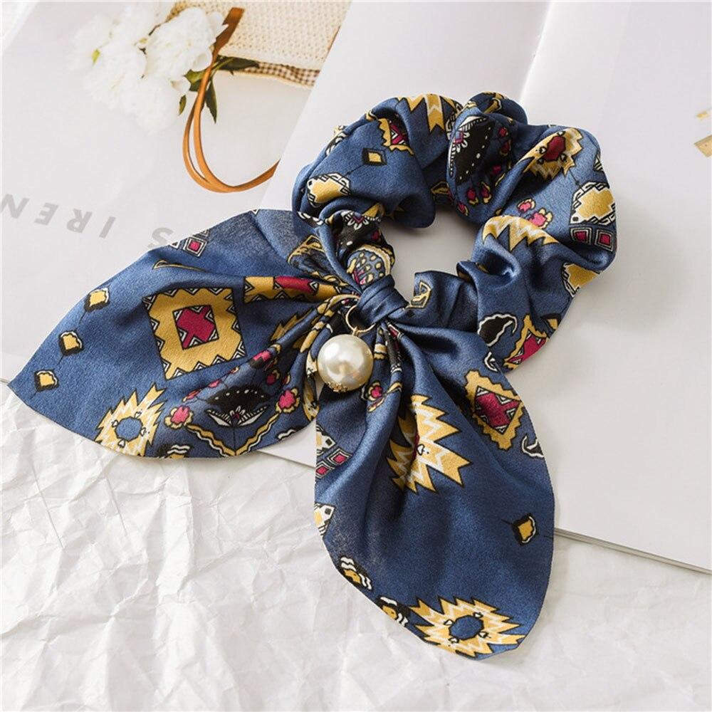 Nouveau mousseline de soie Bowknot élastique bandes de cheveux pour les femmes filles perle chouchous bandeau cheveux cravates élastique pour queue de cheval accessoires de cheveux 9