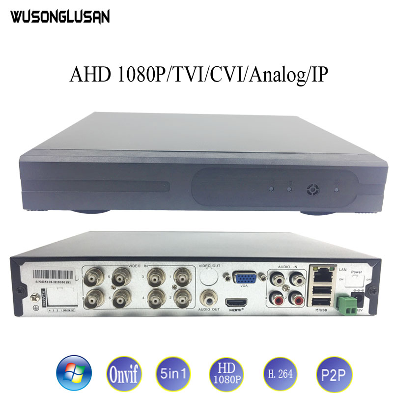 8CH 5 in 1 AHD DVR H.264 720P 960P 1080P-H Support AHD TVI CVI CVBS Analog IP Camera Onvif P2P Cloud Motion detect RS485 Video 16ch 5in1 ahd dvr support cvbs tvi ahd analog ip cameras hd p2p h 264 vga hdmi 2 hard disk bit video recorder rs485 audio