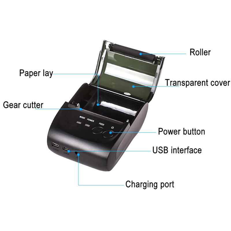 Pos drucker android Tragbare Bluetooth Thermische Drucker Mini 58mm bluetooth android ios pos drucker mobile USB empfang drucker
