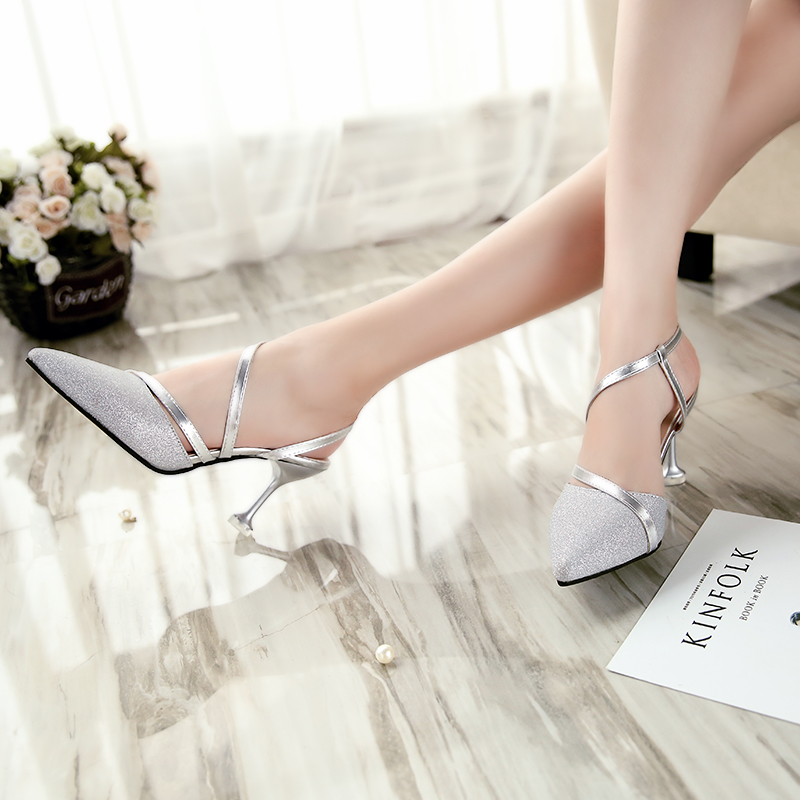 Women Wedding Shoes High Heels Pumps Pointed Toe Slingbacks Dress shoes Woman Summer Shoes Silver sandals Zapatos Mujer 3641 2
