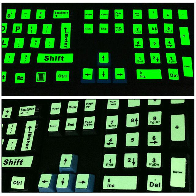 SR Luminous English Full Keyboard Sticker Film Glow in the Dark Capital Letters Sticker with 2 Fonts