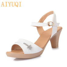 AIYUQI Open shoes women sandals 2019 new rhinestone fashion high heel style summer womens footwear