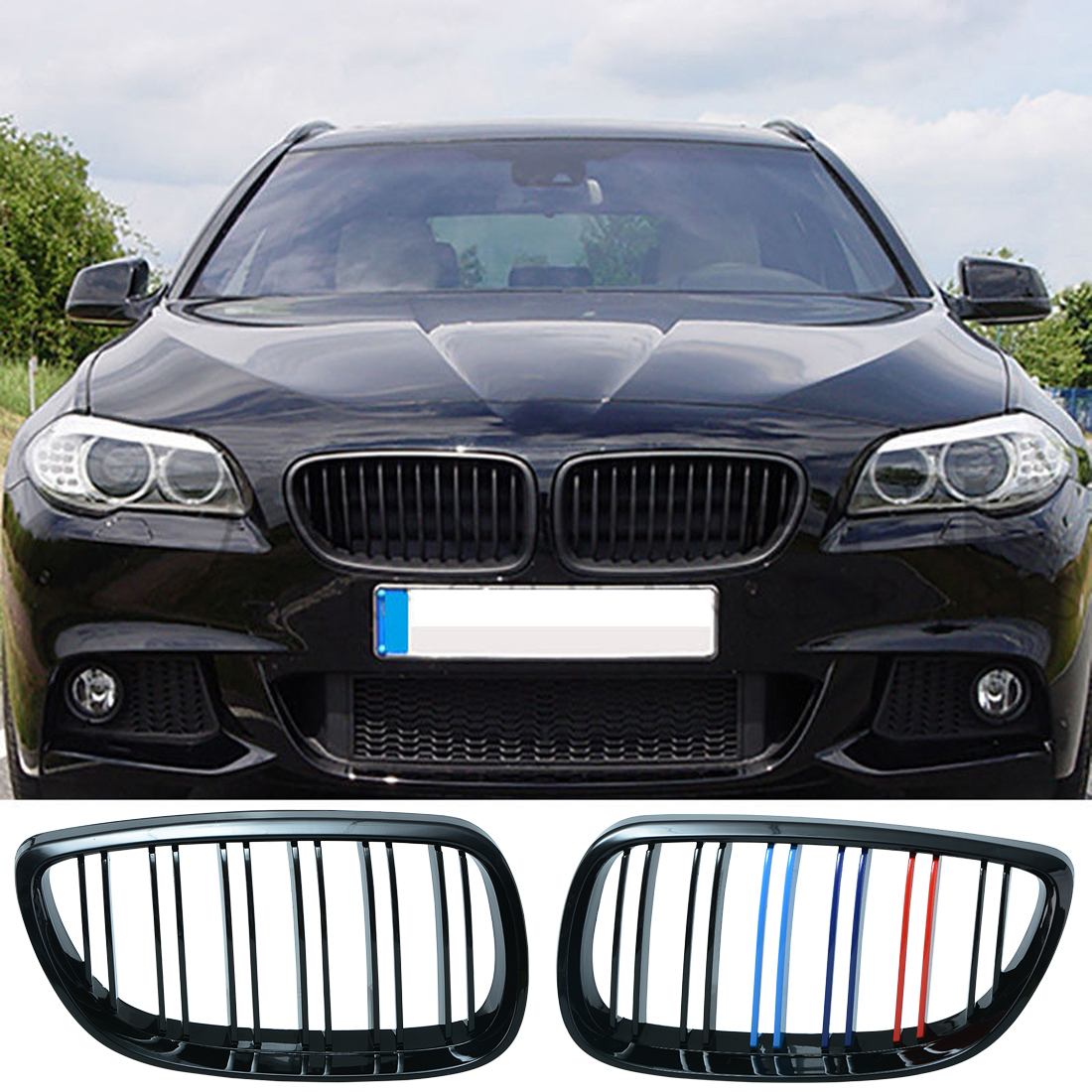 1pair Grille For BMW 3 series E92 E93 06 09 2 doors gloss black Car Wide