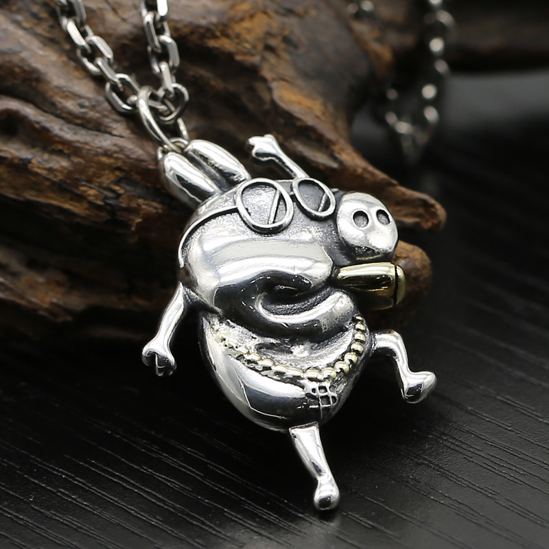 S925 silver jewelry personality fashionable social person piggy Pei hanging Taiyin one proxy*S925 silver jewelry personality fashionable social person piggy Pei hanging Taiyin one proxy*