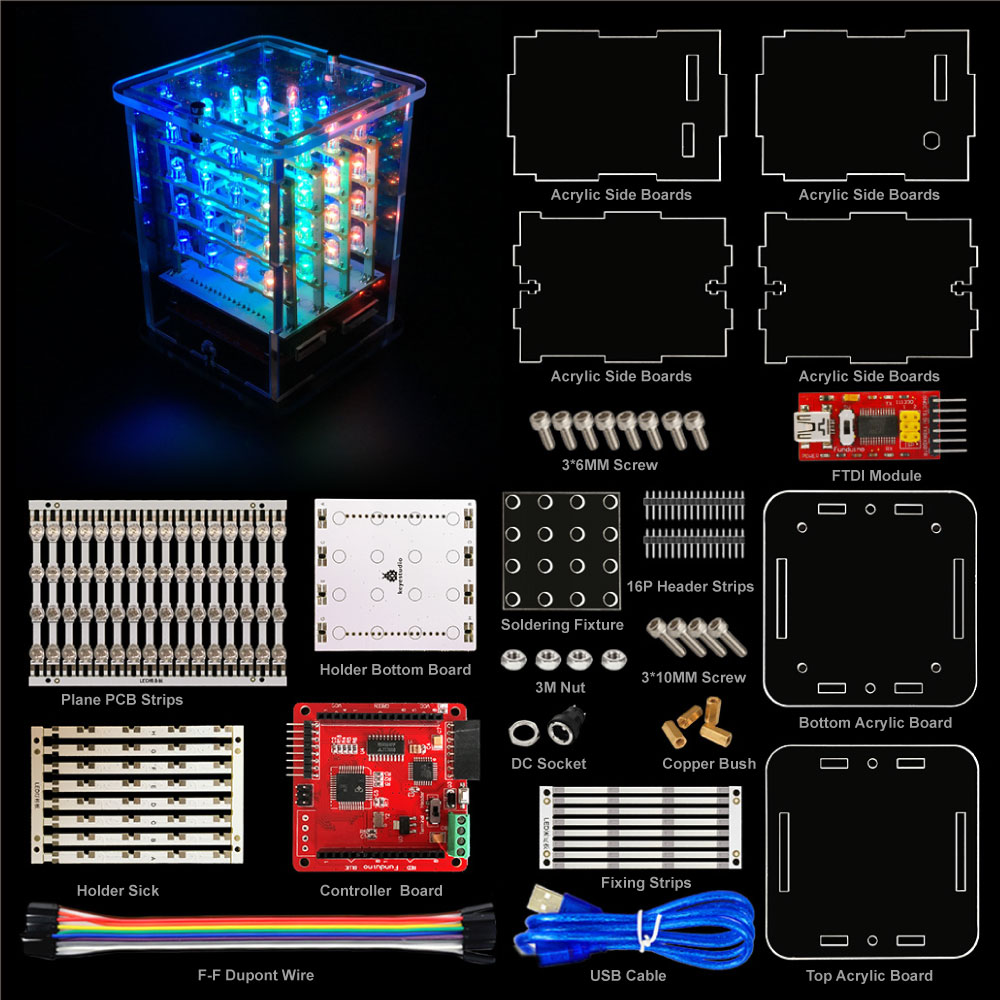 2018NEW! Keyestudio 4*4*4 RGB LED Display C ube Starter Kit for Arduino project+RGB Driver board+FDTI module (Unassembled) ws2812b 4 4 16 битный полноцветный 5050 rgb светодиодные лампы свет панели для arduino