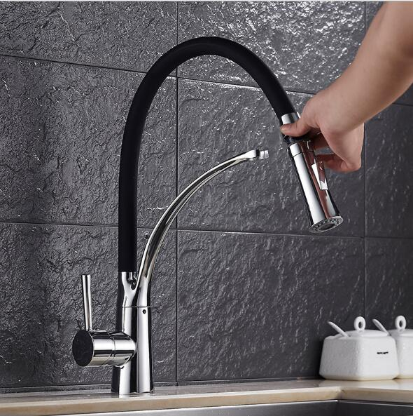 pull out Kitchen Faucet Black Chrome Finish Dual Sprayer Nozzle Cold Hot Water Mixer kitchen sink Faucet Torneira Cozinha modern kitchen sink faucet mixer chrome finish kitchen double sprayer pull out water tap torneira cozinha rotate hot cold tap