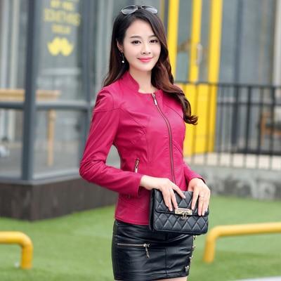 Bust size 112 cm leather clothing female short design slim women's leather jacket stand collar sheepskin leather coat 1