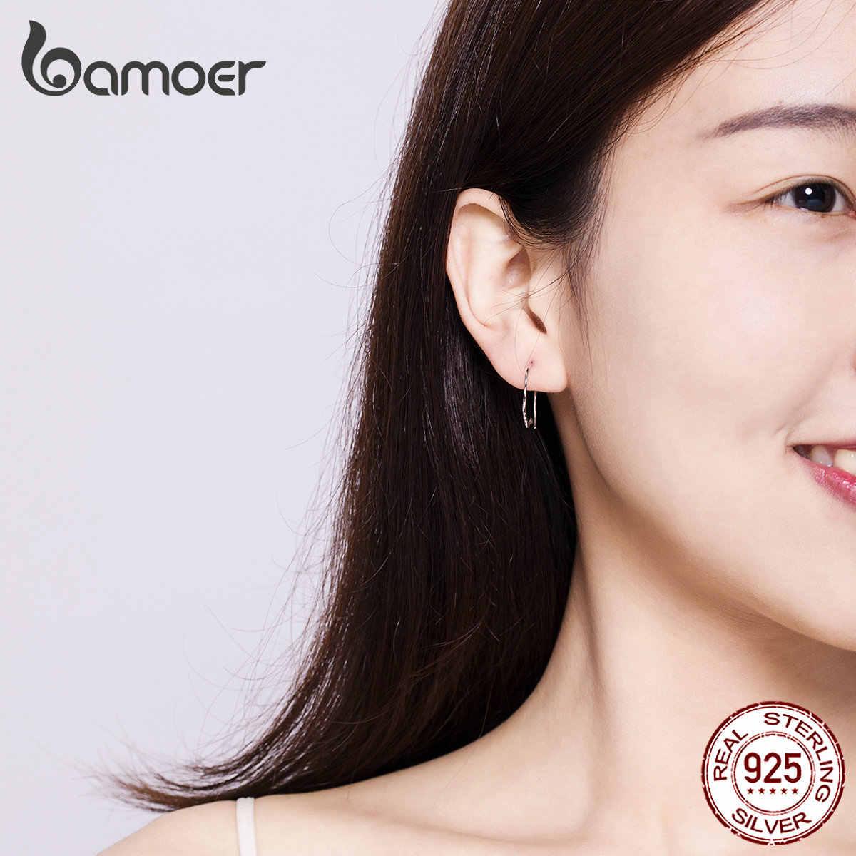 BAMOER MẠ Thiết Kế Bông Tai Nữ Bạc 925 Mặt Mặt Bạc Earing 2019 Thời Trang Hàn Quốc Trang Sức Chống dị ứng SCE631