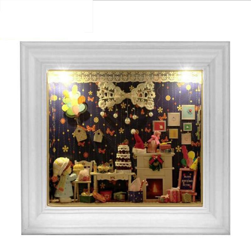 Diy Creative Handmade Frame Mini Room Birthday Creative Gift Model With light Decoration Toy House
