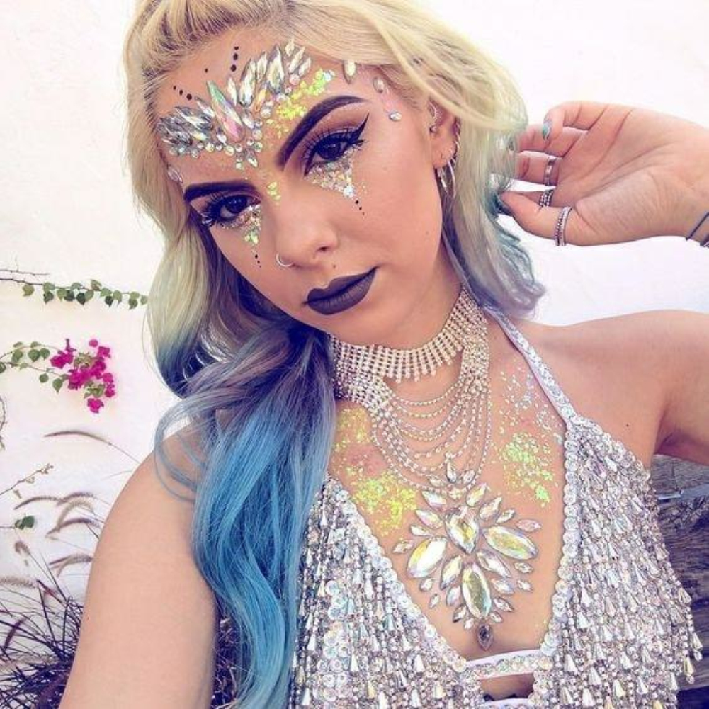 Temporary Rhinestone Face Jewels Gems Tattoo Stickers Glitter Festival Party Makeup Body Jewels Flash Fake Temporary Tattoos