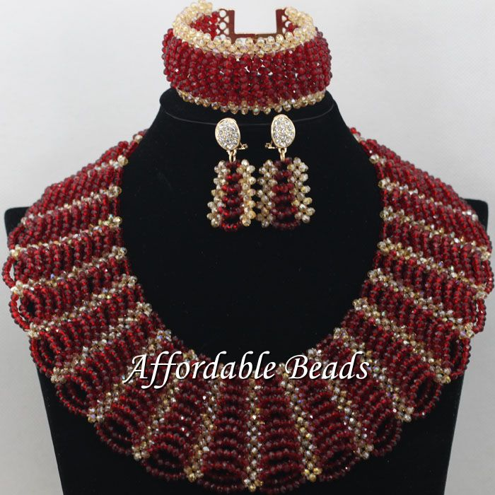 Gold Gray African Costume Jewelry Set Pretty Wedding Beads Set Handmade Item Wholesale Free Shipping NCD036 - 6