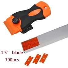1Pcs Plastic Razor Scraper 100Pcs 1 5 Inch Double Edge Plastic Razor Blade CN051P CN053