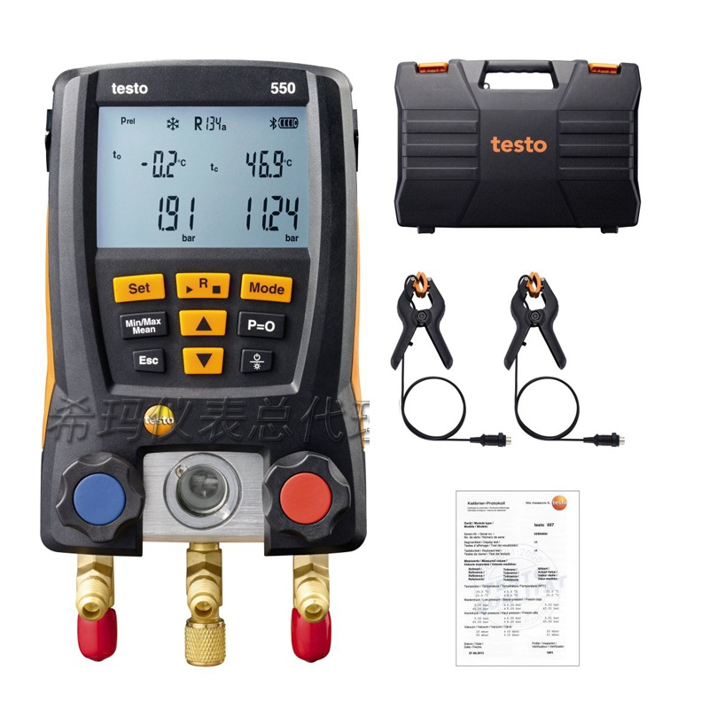 Testo 550 Digital Manifold Gauge kit with Bluetooth APP 0563 1550 Electronic refrigerant table group testo 550 1 refrigeration manifold kit 0563 5505 with 1 clamp probe surface temperature measurement