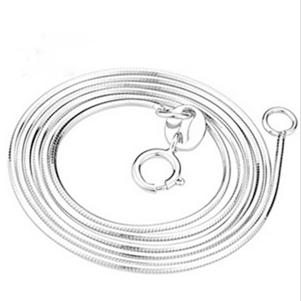 Hot Sale 925 Sterling Silver Pendants Necklaces 0.8mm Snake Chain Basic Necklaces Fit Women Party Wedding Necklaces Jewelry