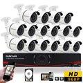 SUNCHAN 1080N AHD DVR de 16 Canais Kit DVR Vigilância CCTV Sistema de Câmera de Segurança DVR 16 pcs CÂMERA 1.3MP 960 P Ao Ar Livre Câmeras de segurança