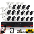 SUNCHAN 16 Channel AHD 1080N DVR Surveillance DVR Kit CCTV Security Camera System DVR 16pcs 1.3MP 960P Outdoor Security Cameras