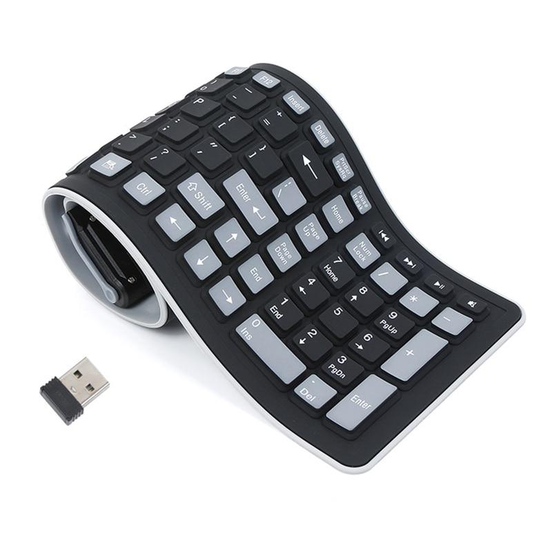 цена на 2.4G Wireless Keyboard Folding English Letter 107Key Silicone Rubber Waterproof Flexible Foldable Keyboard PC Projector
