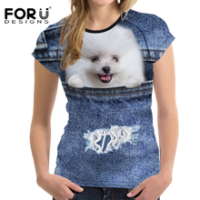 FORUDESIGNS T-shirt Vrouwen t-shirts Kawaii Tops Tees Puppy 3D Afdrukken Jeans Kat T-shirts Tieners Meisjes Feminisme Leisure Tshirts M(China)